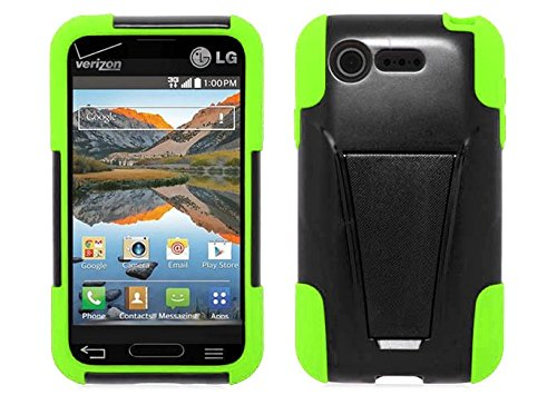 Black/Neon Green Dual Layer Impact Defender Shockproof Armor Kickstand Cover Case + Atom Led Keychain Light For Lg Optimus Fuel / L34C (Straight Talk, Tracfone, Net 10)