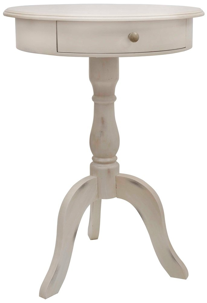 Round End Table Finish: Antique White