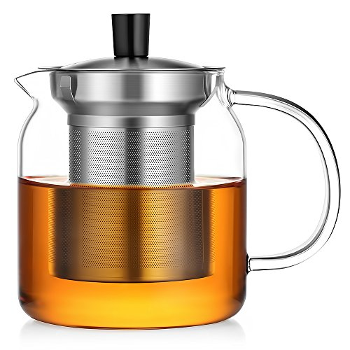 Ecooe Glass Teapot 24 Oz Loose Leaf Tea Maker With Stainless Steel Infuser Stovetop Safe Tea Kettle (Tea Infuser With Kettle compare prices)