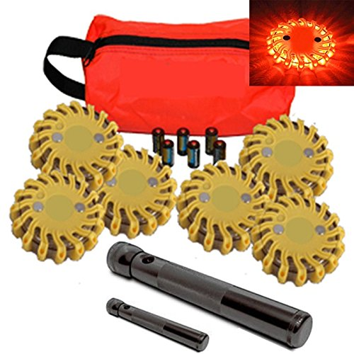 6 Pack Amber Replaceable Battery Waterproof Led Magnet Safety Flare With 9 Operating Modes + Free Lithium Ion Batteries, Travel Bag, And Led Flashlight Set