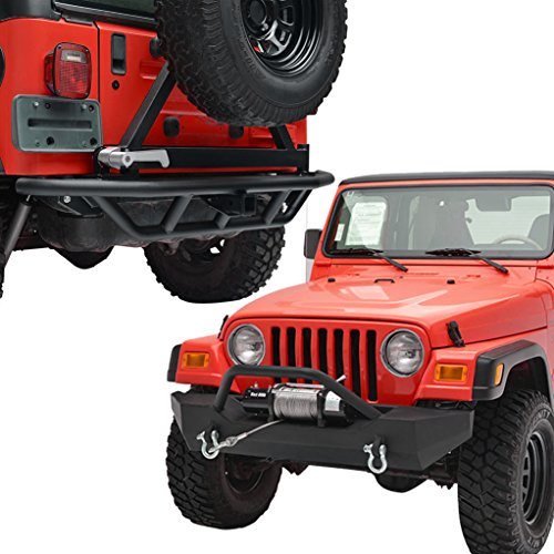 X-restyling Off Road Front and Rear Bumper Combo with Tire Carrier for Jeep Wrangler TJ YJ