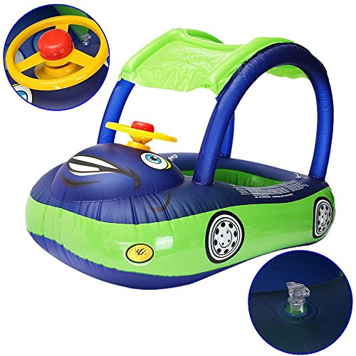 [Car Boat Inflatable Float Ring Swim Pool Baby Seat Water Fun Swimming Donut Tube Steering Wheel] (Used Fanny Pad Costume)