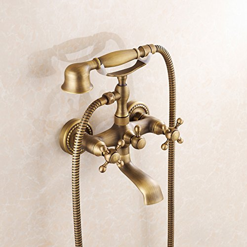 Double Handles Wall Mount Tub Faucet Antique Brass Mixer Tap With Hand Shower front-531778