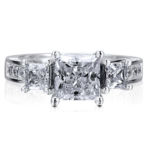 Berricle Sterling Silver 925 Princess Cut Cubic Zirconia Cz 3-Stone Engagement Wedding Ring Band Size 7