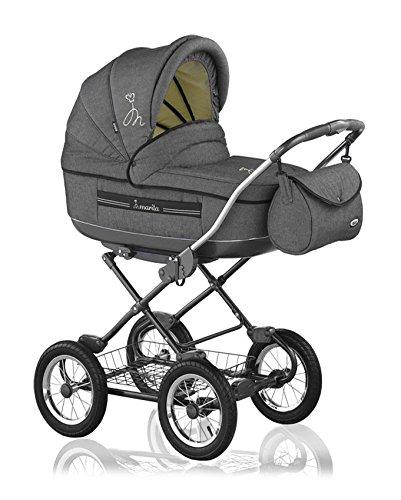 12-teiliges-Klassisches-Qualitts-Kinderwagenset-2-in-1-Roan-MARITA-Kinderwagen-Buggy-Sonnenschirm-Mega-Zubehr-in-Farbe-SL-02-LEINEN-GRAU-TRKIS-INSIDE