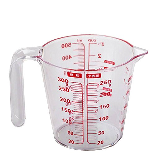 Plastic Measuring Cup with Handle Three Kinds of Red Scale Baking Tools 500ml