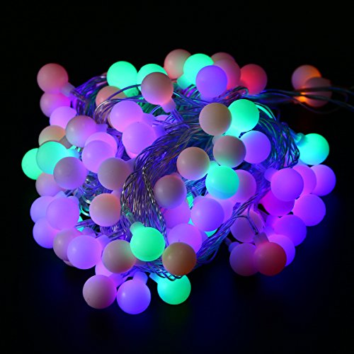 Xcellent Global Multi Color 100 LED 33 ft Globe String Lights with 8 Lighting Modes Power Supply ...