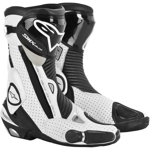 Alpinestars S-MX Plus Vented Men's Leather Street Motorcycle Boots - Black/White / Size 38