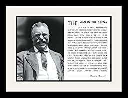Theodore Teddy Roosevelt the Man in the Arena Quote (Teddy Laughing) 19x25 Double Matted to 13x19 Framed Picture
