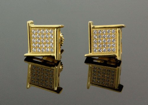 .925 Sterling Silver Yellow Square Spikes White Crystal Micro Pave Unisex Mens Stud Earrings