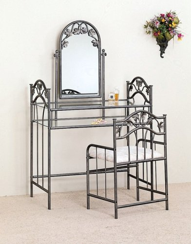 3 pc nickel bronze finish bedroom vanity make up sets