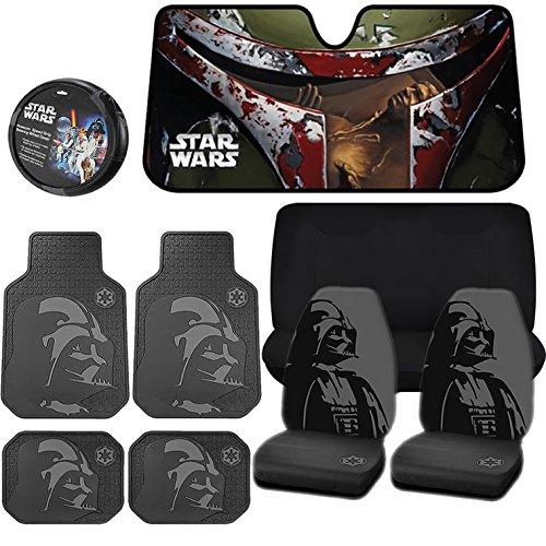 10PC Star Wars Boba Fett Sunshade Darth Vader Seat Covers Floor Mats Steering