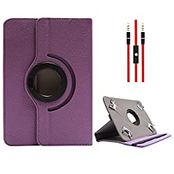 DMG Protective Flip Book Cover Stand View Case for Asus Fonepad K004 (ME371MG ) (Purple) + 3.5mm Flat AUX Cable with Mic