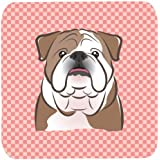 "Caroline's Treasures BB1219FC Checkerboard Pink English Bulldog Foam Coaster (Set Of 4), 3.5"" H X 3.5"" W, Multicolor"