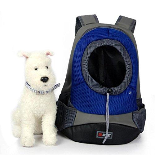 Tom Clovers Comfortable Polyester Dog Backpack Pet Carrier Cat Bag Backpack for Dog Outside Walking Medium Blue