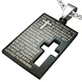 Stainless Steel Anodised Black The Lords Prayer Cut-Out Cross Tag Pendant & Chain - Length 50cms