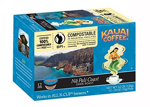 Kauai Coffee Na Pali Coast Dark Roast, 12 Single Serve Cups, 4.2 Ounce