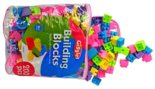 Childrens Building Blocks Pack with Storage Bag Brightly Coloured 200 Pieces