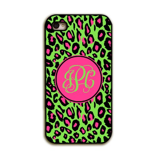 Lime Green Animal Print With Hot Pink - Preppy Monogrammed Iphone 4 Case, Iphone 4S Cover, Cell Phone Case front-970825