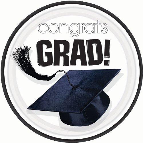 Amscan Congrats Grad White Graduation Dessert Plates (18)