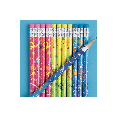 24 Confetti Print Pencils