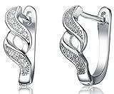 LIOR - Silver 925 Huggies Earrings (Hoop earrings) With White Cubic Zirconia Stones