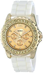 XOXO Women's XO8046 Rhinestone Accent White Silicone Strap Watch