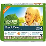 Seventh Generation Free and Clear, Unbleached Baby Diapers, Size 4, 135 Count, Packaging May Vary
