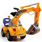 POCO DIVO Digger scooter, Ride-on excavator, Pulling cart, Pretend play construction truck (color may vary) (Color: Excavator-yellow)