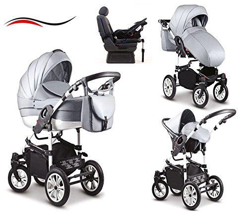17-teiliges-Qualitts-Kinderwagenset-4-in-1-Mikado-COSMO-Kinderwagen-Buggy-Autokindersitz-Iso-Base-Schwenkrder-Mega-Ausstattung-all-inclusive-Paket-in-Farbe-C-30-HELLGRAU-WEISS
