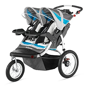 Schwinn Turismo Double Swivel Stroller (Grey/Teal Blue, SC217)