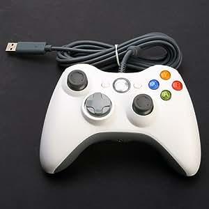 Pour Microsoft XBox 360 Controller Blanc Manette filaire - Compatible PC et XBox360