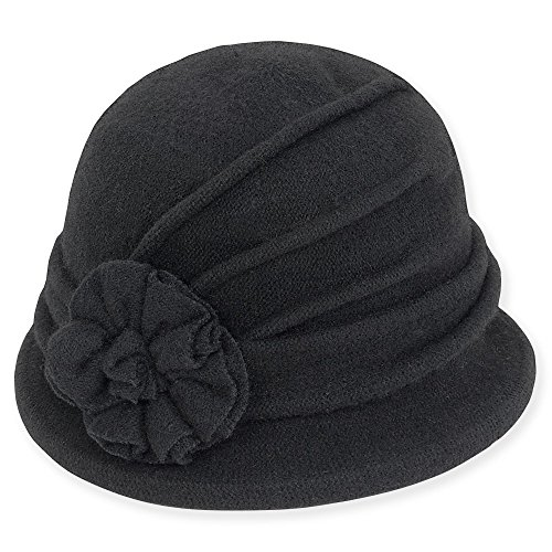 adora-womens-soft-wool-cloche-bucket-hat-with-floral-trim-653-a-black