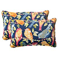 Pillow Perfect Indoor/Outdoor Ash Hill Corded Rectangular Throw Pillow, Navy, Set of 2 by Pillow Perfect