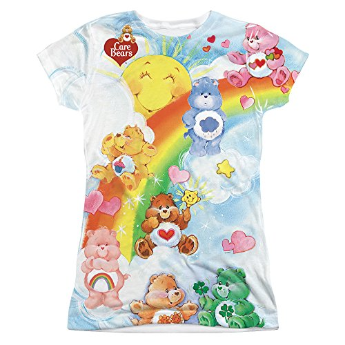 CARE BEARS/RAINBOW GROUP-S/S JUNIOR POLY CREW-WHITE-MD
