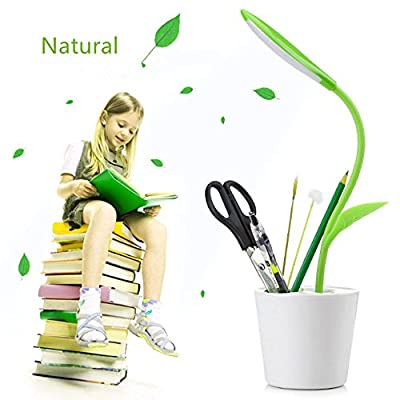 Student Gift USB Touch LED Desk Lamp with 3-Level Dimmer and Decor Plant Pen container, a great desk night light For Student study, office desk