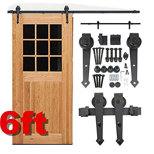 Topeakmart 6 Ft Modern Interior Sliding Barn Wood Door Hardware Track Kit System Set (Vintage Barn Door Hardware compare prices)
