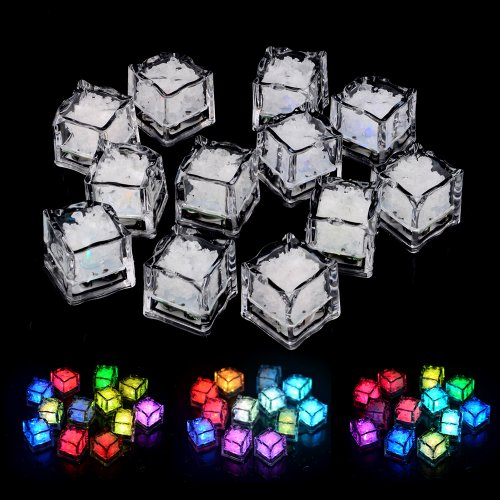 Dfunlife Water Submersible Slow Flashing Led Freezable Ice Cubes Rocks 12 Pcs Pack