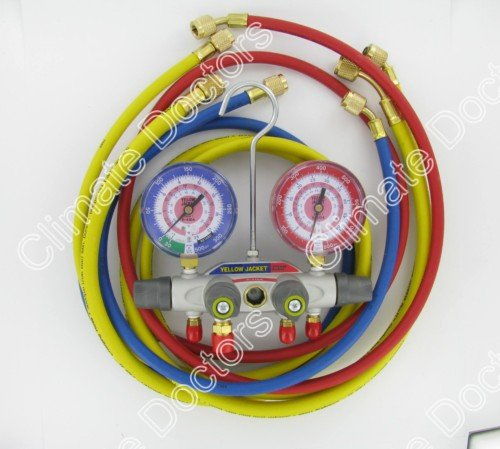 Yellow Jacket 49965 Titan 4-Valve Test and Charging Manifold degrees F, bar/psi Scale, R-410A Refrigerant, Red/Blue Gauges (3 8 Evacuation Hose compare prices)