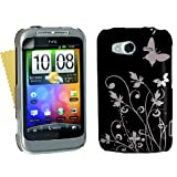 HTC Wildfire S Butterfly Flower Pattern Hard Hybrid Case Cover Black Silver And Screen Protector Filmby Yousave Accessories