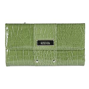 Kenneth Cole Reaction Green Patent Croc Flap Wallet W/ Studded Detail