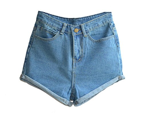Juniors's Denim Vintage Retro High Waist Jeans Short 0