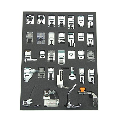 Professional Domestic 32 pcs Sewing Machine Presser Feet Set for Brother, Babylock, Singer, Janome, Elna, Toyota, New Home, Simplicity, Necchi, Kenmore, and White Low Shank Sewing Machines