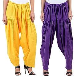 Numbrave Women's Yellow-Purple Cotton Full Patiala Salwar (Combo of 2)
