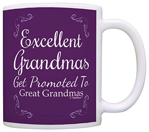 Great Grandma Gifts Excellent Grandmas Get Promoted to Great Grandma Gift Coffee Mug Tea Cup Purple
