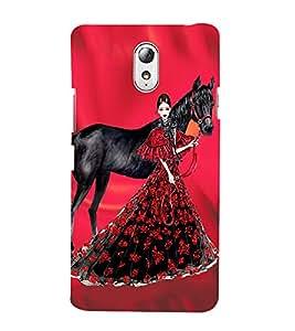 PrintVisa Fashion Horse Girl Dress Design 3D Hard Polycarbonate Designer Back Case Cover for Lenovo Vibe P1M
