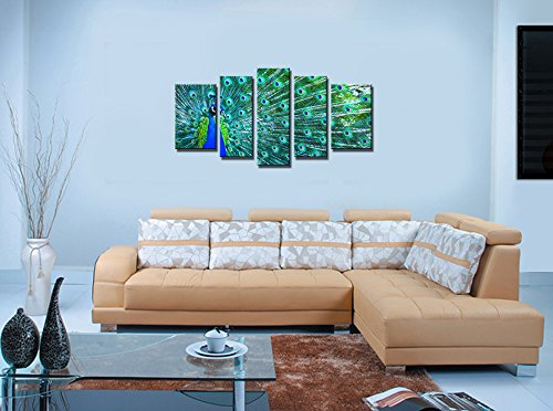 Youkuart -Kx5009,5 Panel Wall Art Blue Beautiful Peacock Painting the Picture Print on Canvas Animal Pictures for Home Decor Decoration Gift Piece (Stretched By Wooden Frame,ready to Hang)