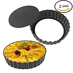 Quiche Pans, Homono Commercial Grade Non Stick Removable Bottom 5 Inch Mini Tart Pans (Pack of 2)
