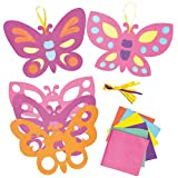 Stained Glass Effect Butterfly Decorations for Children to Paint and Hang (Pack of 6)