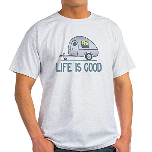 CafePress - Life Is Good Camper T-Shirt - 100% Cotton T-Shirt, Crew Neck, Comfortable and Soft Classic Tee with Unique Design (Men Camper Life Is Good compare prices)